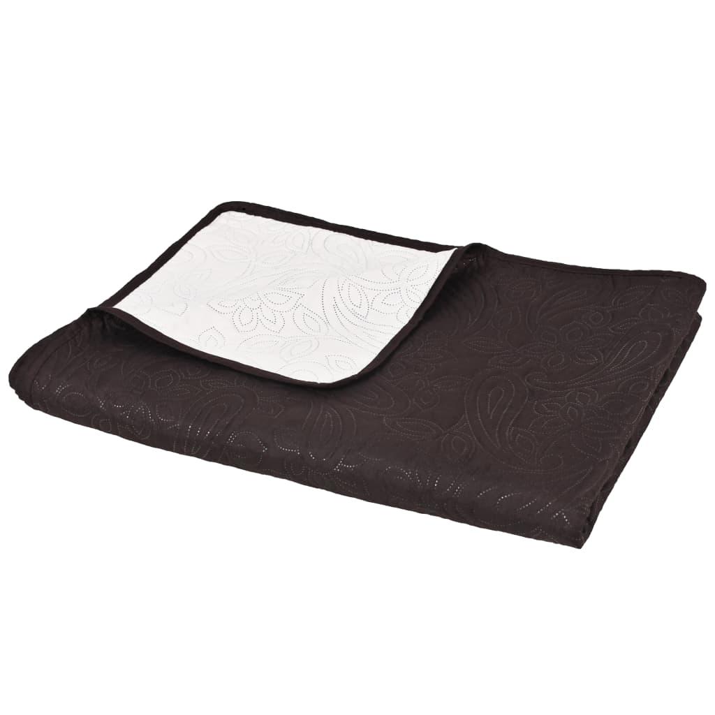 vidaXL Oboustranný prošívaný přehoz na postel 230x260 cm hnědo-krémový
