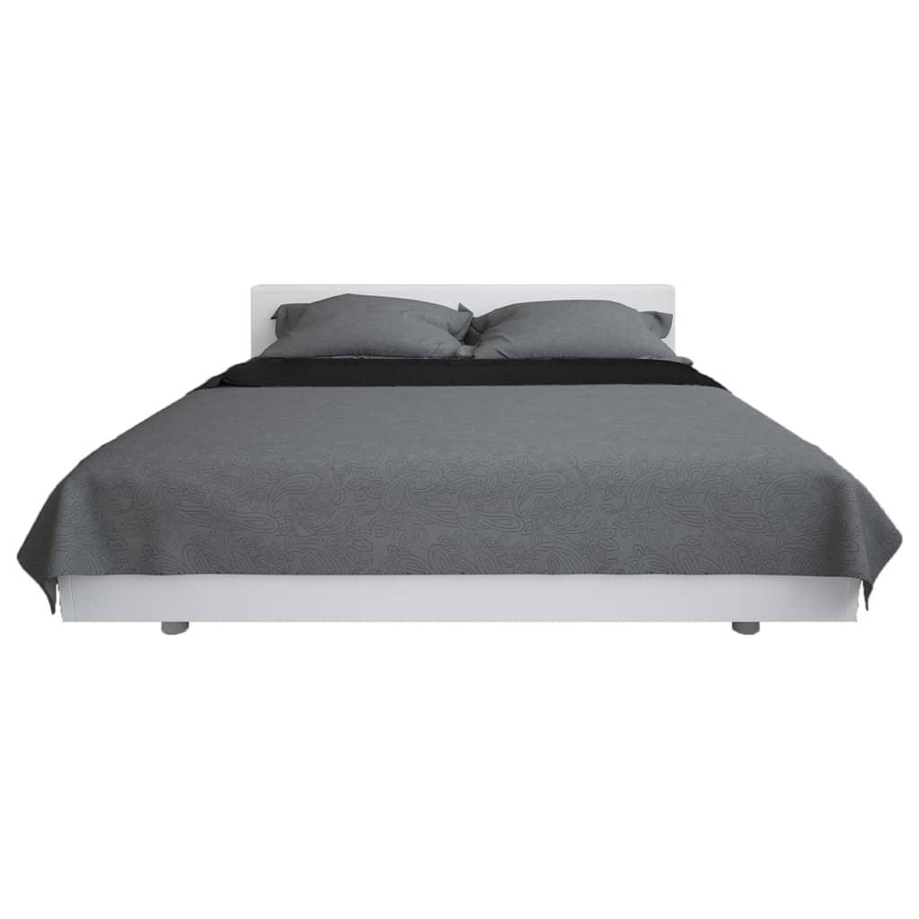 vidaXL Oboustranný prošívaný přehoz na postel 170 x 210 cm šedo-černý