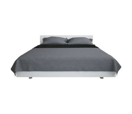 vidaXL Överkast dubbelsidigt 170x210 cm grå och svart[2/4]