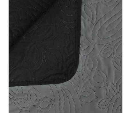 vidaXL Överkast dubbelsidigt 170x210 cm grå och svart[4/4]
