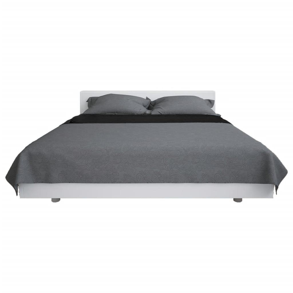 vidaXL Oboustranný prošívaný přehoz na postel 220 x 240 cm šedo-černý