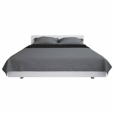 vidaXL Överkast dubbelsidigt 220x240 cm grå och svart[2/4]