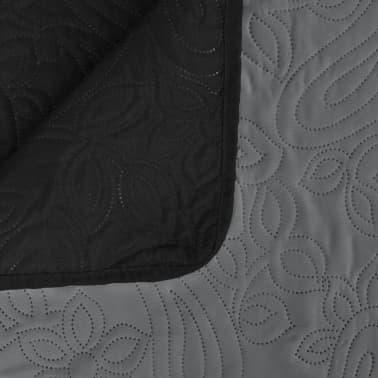 vidaXL Överkast dubbelsidigt 220x240 cm grå och svart[4/4]