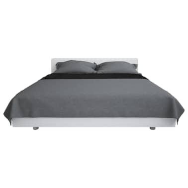 vidaXL Överkast dubbelsidigt 230x260 cm grå och svart[2/4]