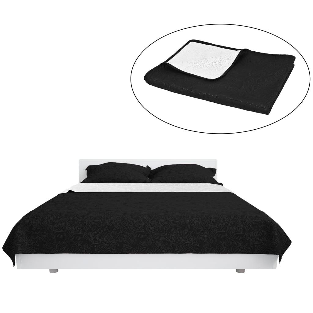 999132968 Zweiseitige Tagesdecke Gesteppt 170 x 210 cm Schwarz und Weiß