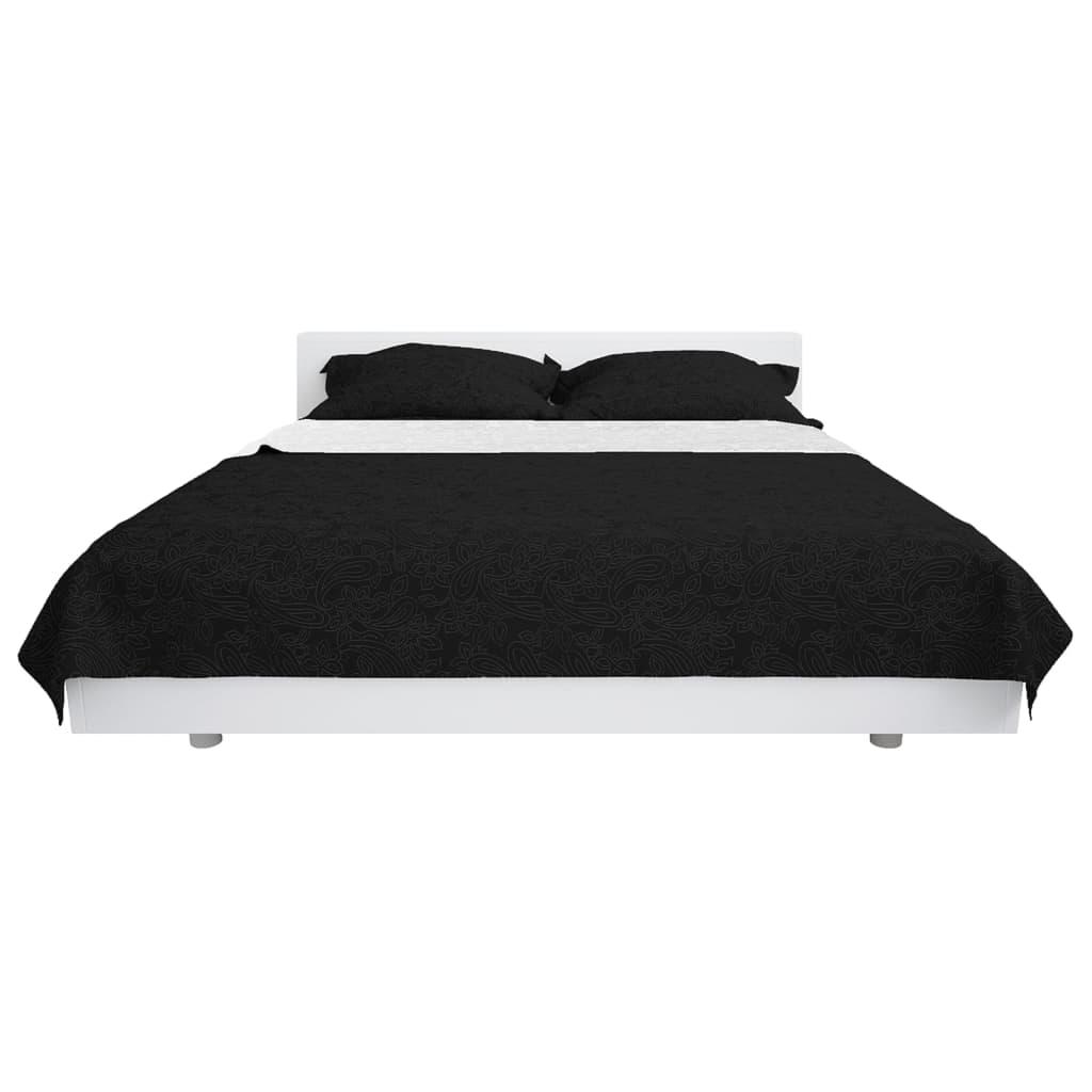 vidaXL Oboustranný prošívaný přehoz na postel 170x210 cm černo-bílý