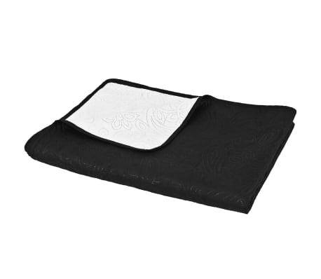vidaXL Överkast dubbelsidigt 170x210 cm svart och vit[3/4]