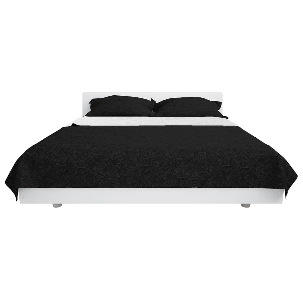 vidaXL Oboustranný prošívaný přehoz na postel 230x260 cm černo-bílý