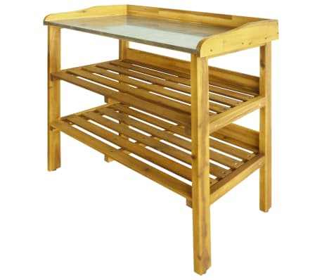 vidaXL Potting Bench with 2 Shelves Solid Acacia Wood and Zinc