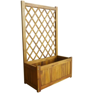 vidaXL Garden Planter with Trellis Solid Acacia Wood[1/7]