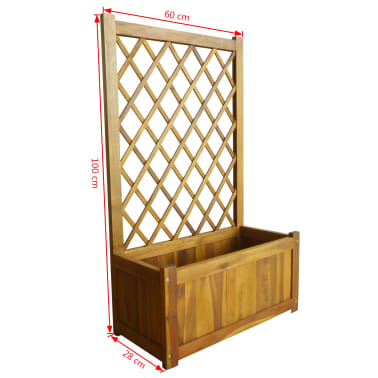 vidaXL Garden Planter with Trellis Solid Acacia Wood[7/7]