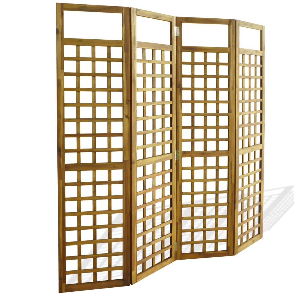 vidaXL Separator cameră cu 4 panouri, nuiele lemn acacia, 160x170 cm poza 2021 vidaXL
