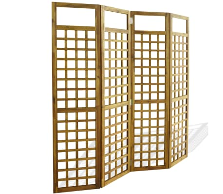 """vidaXL 4-Panel Room Divider / Trellis Solid Acacia Wood 63""""x66.9"""""""