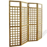 "vidaXL 4-Panel Room Divider / Trellis Solid Acacia Wood 63""x66.9"""