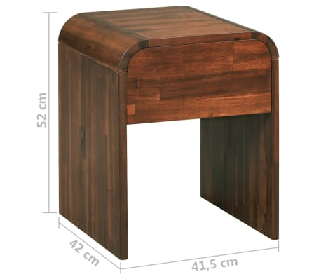 vidaXL Noptieră, lemn masiv de acacia, 41,5 x 42 x 52 cm[6/6]