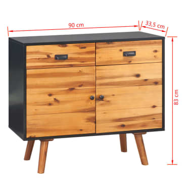 vidaXL Šoninė spintelė, tvirta akacijos medienos, 90x33,5x83 cm[7/7]