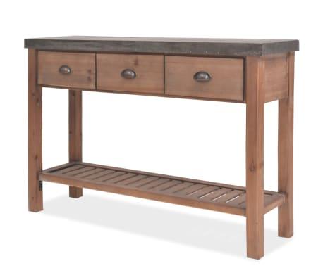 vidaXL Konsolinis staliukas, tvirta eglės mediena, 122 x 35 x 80 cm
