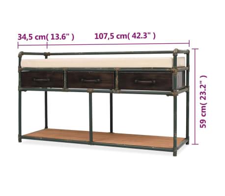 """vidaXL Storage Bench with Cushion 42.3""""x13.6""""x23.2""""[11/11]"""
