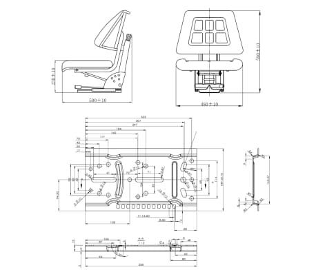 vidaXL Traktorsitz mit Federung Schwarz[8/8]