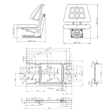 vidaXL Sedež za traktor z vzmetenjem črn[8/8]