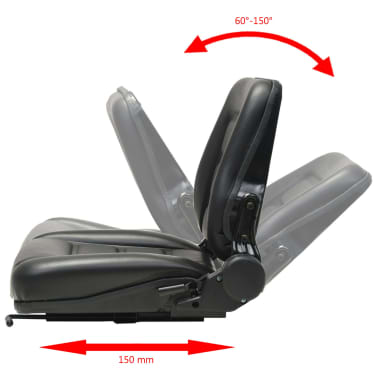 vidaXL Fotel do ciągnika/wózka widłowego z regulowanym oparciem,czarny[7/8]