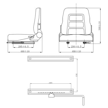 vidaXL Fotel do ciągnika/wózka widłowego z regulowanym oparciem,czarny[8/8]