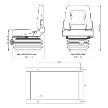 vidaXL Sedež za viličar in traktor vzmetenje prilagodljivo naslonjalo[9/9]
