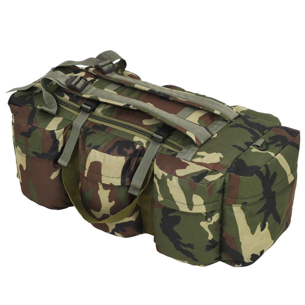 vidaXL Sportovní taška 3v1 v army stylu 120 l maskáčová