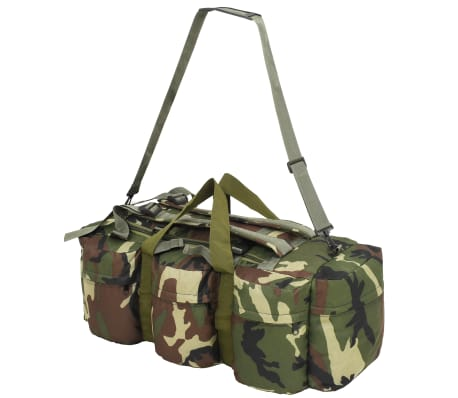 vidaXL Bolso de lona estilo militar 3-en-1 120 L camuflaje[4/6]