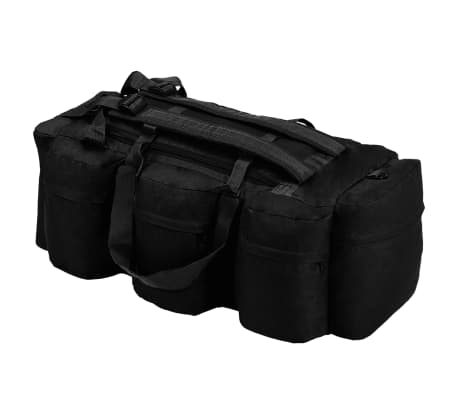 vidaXL 3-in-1 Army-Style Duffel Bag 31.7 gal Black[1/6]