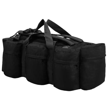 vidaXL 3-in-1 Army-Style Duffel Bag 31.7 gal Black[2/6]