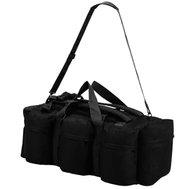 vidaXL 3-in-1 Army-Style Duffel Bag 31.7 gal Black[4/6]