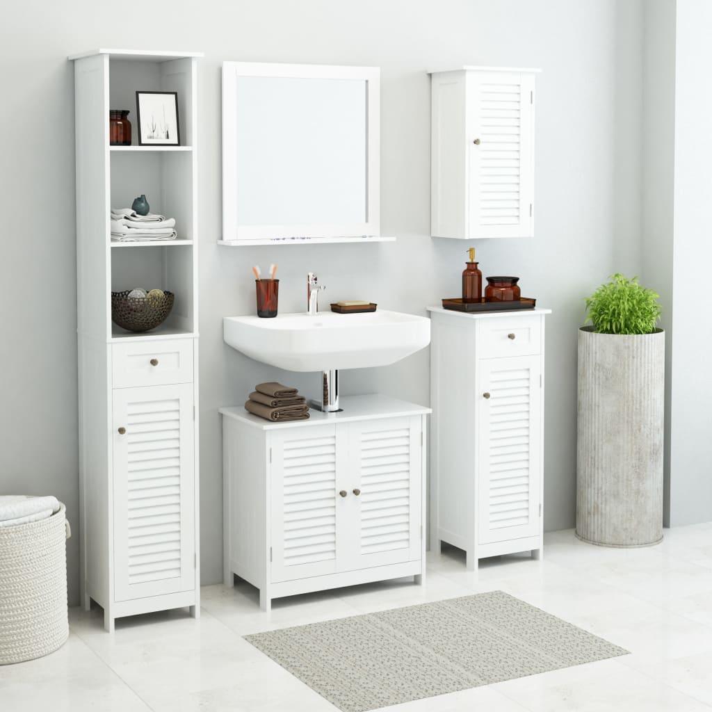 244668 vidaXL Sada nábytku do koupelny 5 kusů bílý