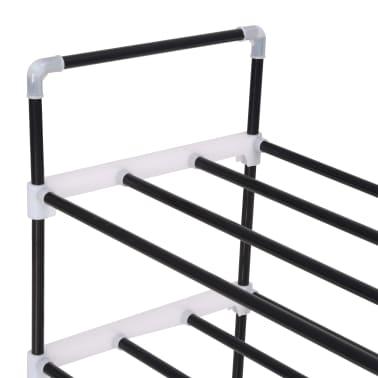 vidaxl schuhregal mit 4 etagen metall und kunststoff schwarz g nstig kaufen. Black Bedroom Furniture Sets. Home Design Ideas