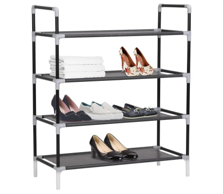 vidaXL Zapatero con 4 estantes de metal y textil no tejido negro[2/6]