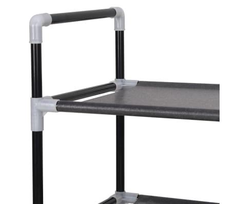 vidaXL Zapatero con 4 estantes de metal y textil no tejido negro[5/6]