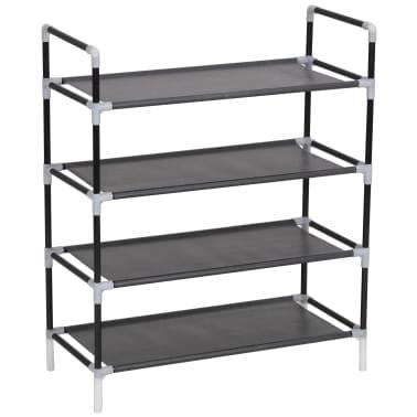 vidaXL Zapatero con 4 estantes de metal y textil no tejido negro[3/6]
