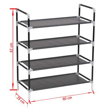 vidaXL Zapatero con 4 estantes de metal y textil no tejido negro[6/6]