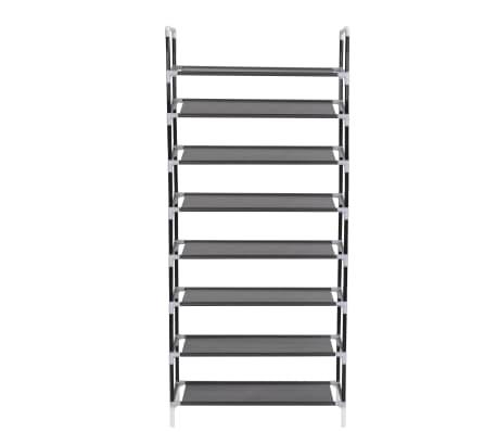 vidaxl schuhregal mit 8 etagen metall und vliesstoff schwarz g nstig kaufen. Black Bedroom Furniture Sets. Home Design Ideas