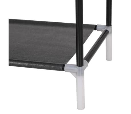acheter vidaxl range chaussures avec 8 tag res m tal et tissu non tiss noir pas cher. Black Bedroom Furniture Sets. Home Design Ideas