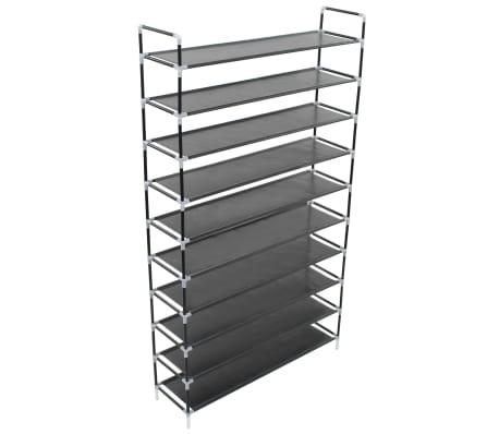 vidaxl schuhregal mit 10 etagen metall und vliesstoff schwarz g nstig kaufen. Black Bedroom Furniture Sets. Home Design Ideas