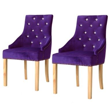 vidaXL Krzesła do jadalni, 2 szt., drewno dębowe i aksamit, fioletowy[1/8]