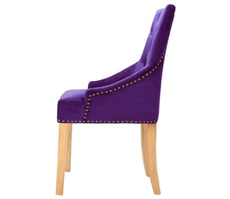 vidaXL Krzesła do jadalni, 2 szt., drewno dębowe i aksamit, fioletowy[4/8]