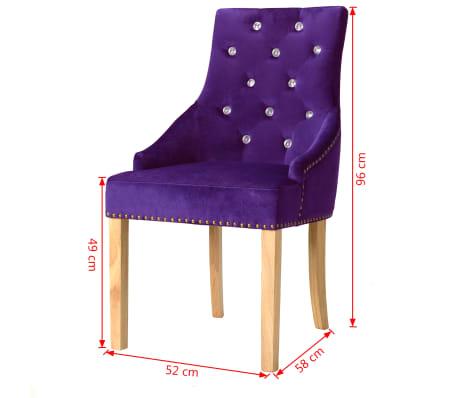 vidaXL Krzesła do jadalni, 2 szt., drewno dębowe i aksamit, fioletowy[8/8]