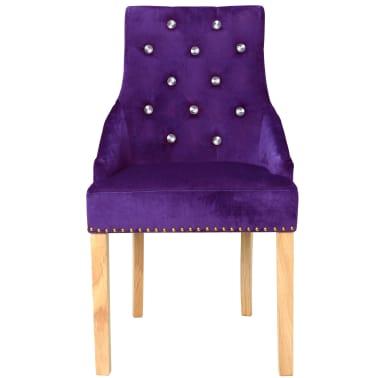 vidaXL Krzesła do jadalni, 2 szt., drewno dębowe i aksamit, fioletowy[3/8]
