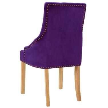 vidaXL Krzesła do jadalni, 2 szt., drewno dębowe i aksamit, fioletowy[5/8]