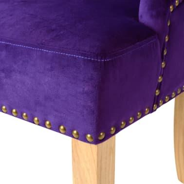 vidaXL Krzesła do jadalni, 2 szt., drewno dębowe i aksamit, fioletowy[6/8]