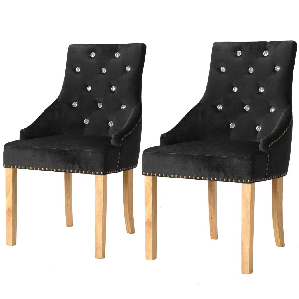 vidaXL Jídelní židle 2 ks masivní dubové dřevo a samet černé