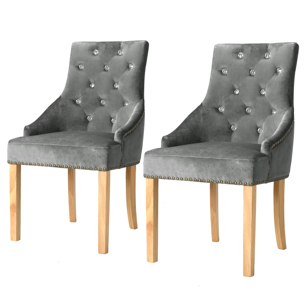 vidaXL Καρέκλες Τραπεζαρίας 2 τεμ. Ασημί Μασίφ Ξύλο Δρυός / Βελούδο