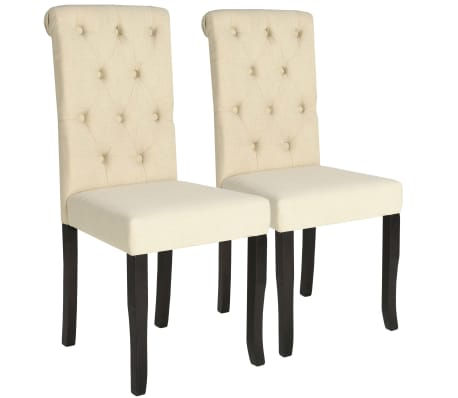 vidaXL Dining Chairs 2 pcs Cream Fabric